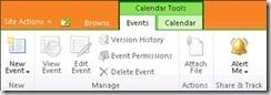 SharePoint Calendar Ribbon