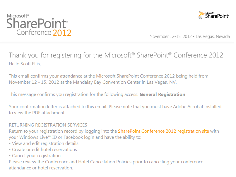 Microsoft SharePoint Conference 2012 Registration
