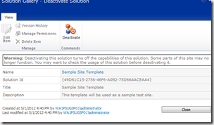 Deactivate a SharePoint Solution
