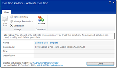 Activating a SharePoint Custom Solution