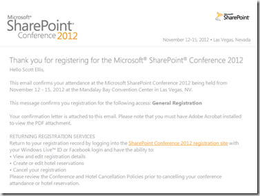 Microsoft SharePoint 2012 Conference Registration